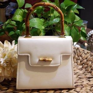 Handbags - Vintage Bamboo Handle Beige Small Purse